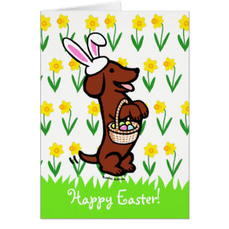 Easter Egg Red Smooth Haired Dachshund Card