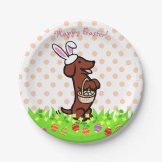 Easter Egg Red Smooth Haired Dachshund Plates 7 Inch Paper Plate