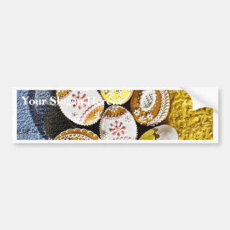 Easter Egg Shaped Biscuits On The Plate On Yellow Bumper Stickers