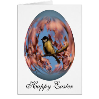 easter egg tomtit in blooming tree card