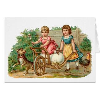 Easter Egg Wheelbarrow Vintage Card