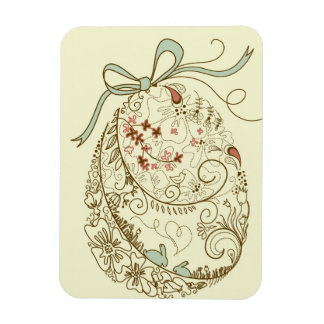 Easter Egg with Floral Elements Rectangular Photo Magnet