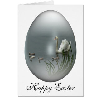 easter egg with swan and cygnets card