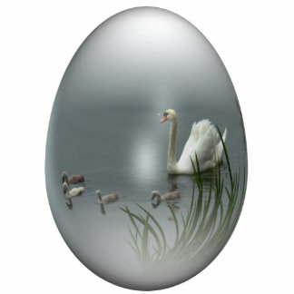 easter egg with swan and cygnets photo sculpture decoration