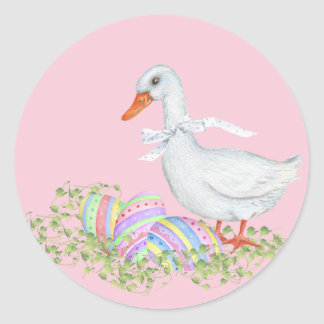 Easter Eggs and Easter Duck Classic Round Sticker