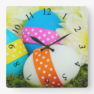 Easter Eggs and Mums Square Wall Clock