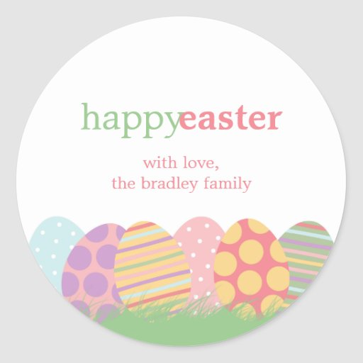 Easter Eggs Favor Stickers or Gift Tag Stickers Round Sticker