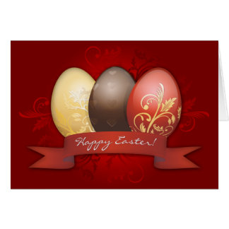 Easter Eggs Gold Decorated - Red Card