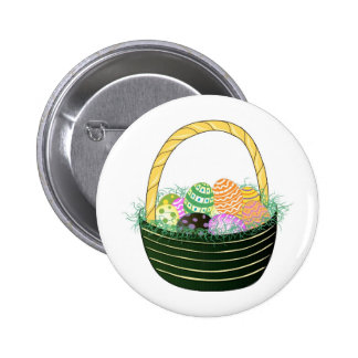 Easter Eggs in Decorative Basket 6 Cm Round Badge