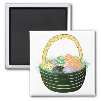 Easter Eggs in Decorative Basket Square Magnet