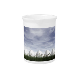Easter eggs in nature by cloudy day - 3D render Beverage Pitchers