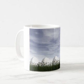 Easter eggs in nature by cloudy day - 3D render Coffee Mug