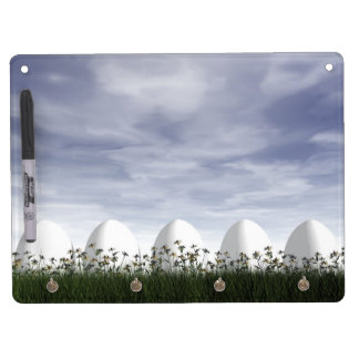 Easter eggs in nature by cloudy day - 3D render Dry Erase Board With Key Ring Holder