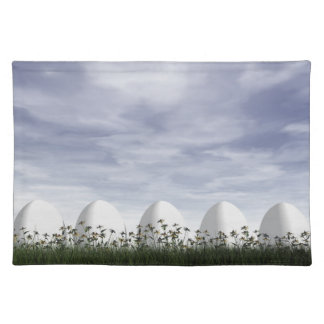 Easter eggs in nature by cloudy day - 3D render Placemat