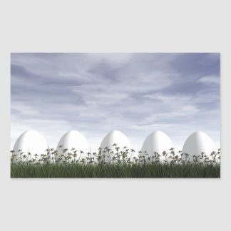 Easter eggs in nature by cloudy day - 3D render Rectangular Sticker