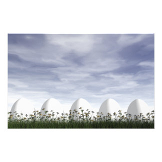 Easter eggs in nature by cloudy day - 3D render Stationery