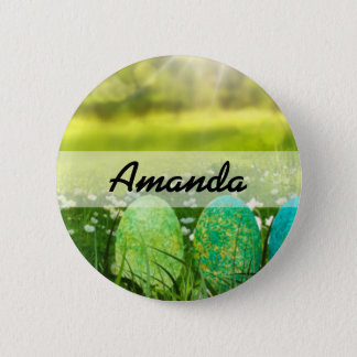 Easter Eggs in Spring Greens and Blues 6 Cm Round Badge