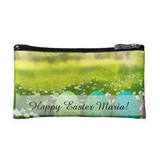 Easter Eggs in Spring Greens and Blues Cosmetic Bag