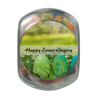 Easter Eggs in Spring Greens and Blues Glass Jar