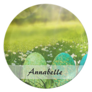 Easter Eggs in Spring Greens and Blues Plates
