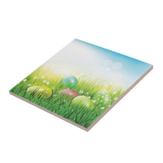 Easter Eggs in the Grass Tile