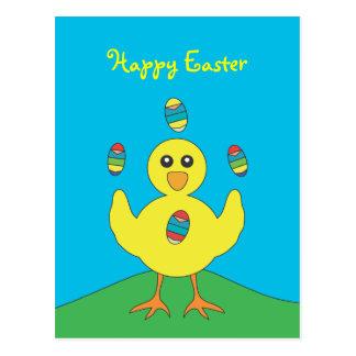 Easter Eggs Juggling Chick Postcard