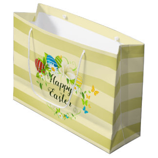 Easter Eggs Spring Flowers and Butterflies Wreath Large Gift Bag