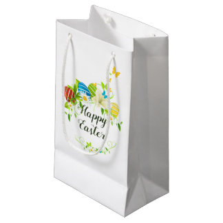 Easter Eggs Spring Flowers and Butterflies Wreath Small Gift Bag