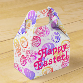 """Easter Eggs Water Colours Pattern Treat Box"""" Wedding Favour Box"""