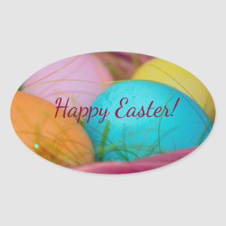 Easter Eggs with Basket Oval Sticker