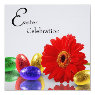 Easter Eggs with Gerbera - Invitation