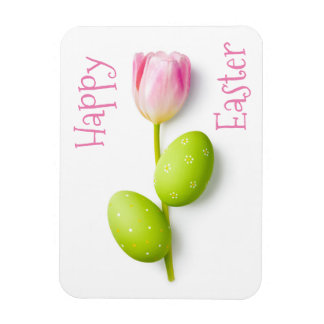 Easter Eggs With Tulip Flower Magnet
