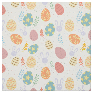 Easter fabric with bunny, colorful eggs pattern