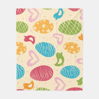 Easter fleece blanket with colorful Easter eggs
