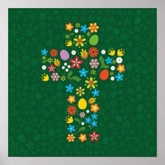 Easter Flower Cross Poster