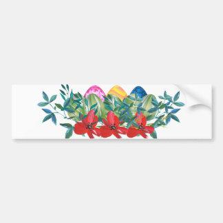 Easter, Flower, Eggs, Watercolor Bumper Sticker