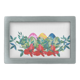 Easter, Flower, Eggs, Watercolor Rectangular Belt Buckle