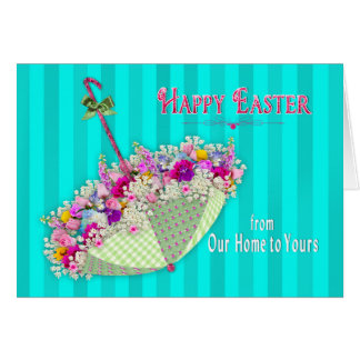 Easter, From Our Home to Yours - Umbrella/Flowers Card