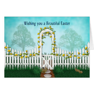 Easter - Garden(2) Yellow Roses/Trellis Card