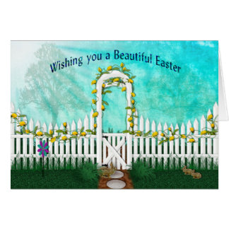 Easter - Garden with Yellow Roses/Trellis Card