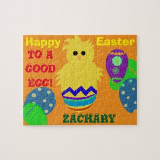 Easter Good Egg Yellow Chick Personalized NAME Jigsaw Puzzle