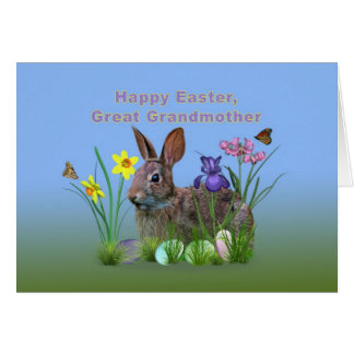 Easter, Great Grandmoth,  Flowers, Eggs, and Rabbi Greeting Card