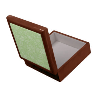 Easter Green Retro Paisley Large Square Gift Box
