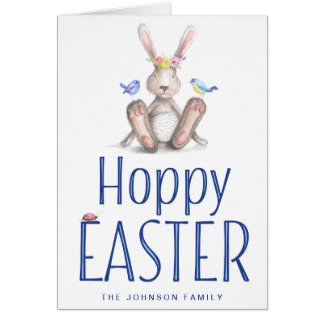 Easter Greeting Cards With Cute Blue Bunny