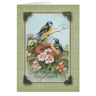 Easter Greetings Blue Bird Vintage Reproduction Card