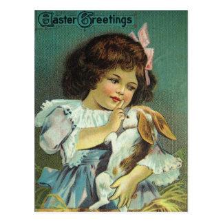 Easter Greetings Girl Baby Bunny Naughty Postcard