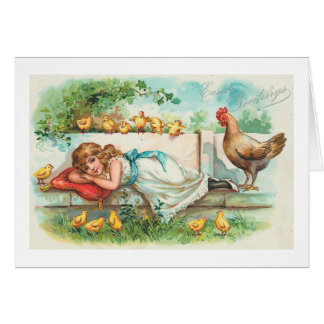 Easter Greetings Hen Chicks & Girl Vintage Card