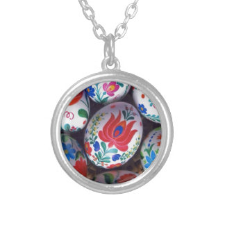 Easter greetings kalocsai eggs silver plated necklace