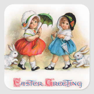 Easter Greetings Square Sticker
