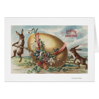 Easter GreetingsRabbits by a Decorated Egg Cards
